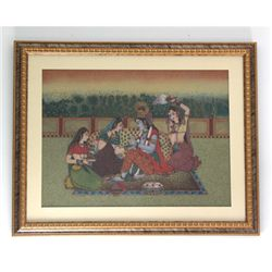 "30 1/2"" x 24 1/2"" Indian King & Queen Gemstone Painting"