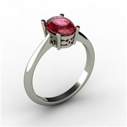 Garnet 1.40 ctw Ring 14kt White Gold