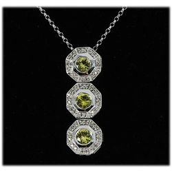 Genuine 0.88ctw Yellow Sapphire Diamond Necklace 14k