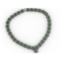 Tourmaline 38.94 ctw Diamond Necklace 14kt White Gold