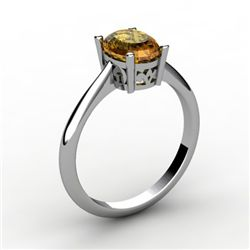 Citrine 0.85 ctw Ring 14kt White Gold