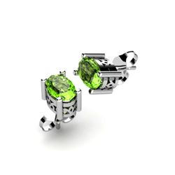 Peridot 1.00ctw Earring 14kt White Gold
