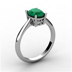 Emerald 0.85 ctw Ring 14kt White Gold