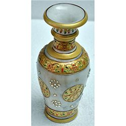 Marble Golden Color Flower Vase size 9in.