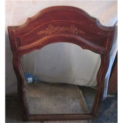 LARGE WOOD FRAMED MIRROR, CARVINGS ON TOP