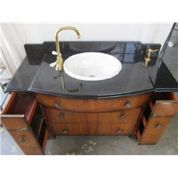 COMPLETE MARBLE TOPPED VICTORIAN STYLE SINK