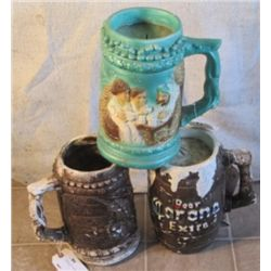 3 LARGE BARREL BEER STEINS TWO ARE PIGGYBANKS