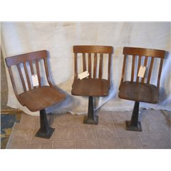 3 SPINNING WOODEN BOLT DOWN PARLOR CHAIRS