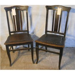 2 WOODEN ANTIQUE MATCHING CHAIRS