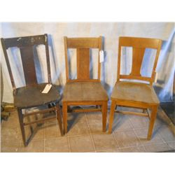 3 SOLID WOOD MIS-MATCHED CHAIRS