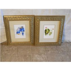 2 GORGEOUS GOLD FRAMED PAINTS OF PARAKEETS