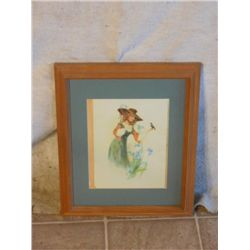 WOOD FRAMED PAINT MATTED OF WOMAN HOLDING BIRD