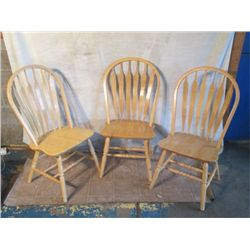 3 BLOND WOOD HIGH BACK CHAIRS