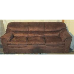 BROWN SUEDE 6'8'' COUCH