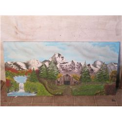 Large canvas Painting of Barn and Mountains
