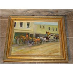 Gold Framed, Signed Horse Drawn Wagon