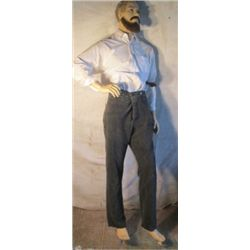 Fully Clothed Male Manikin, With Glass Stand
