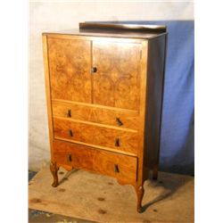 Queen Anne Burl walnut tall dresser