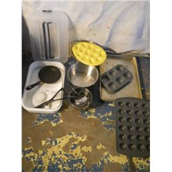 box of kitchen utensils measuring cups & spoons,