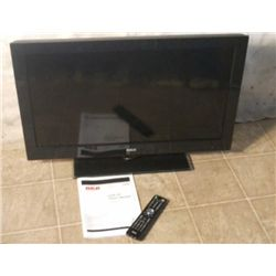 "32"" RCA flat screen TV w/ remote & manuals"
