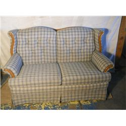 Blue And white plaid like love sofa