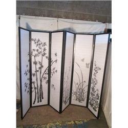2 black wood screen room divider w/ print