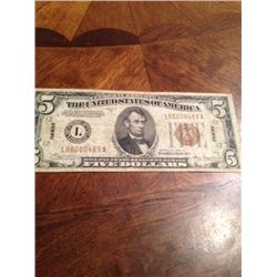 1934 Series WWII $5 Hawaii Silver Certificate Emergency Currency
