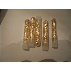 5 Large Vials of Gold Flakes, 4""