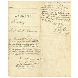 Pat Garrett Signed Arrest Warrant