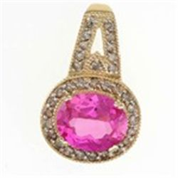 5ctw Created Pink Sapphire &amp; Diamond Pendant in 10K Gold