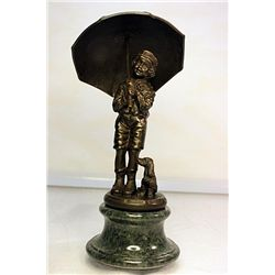 SIGNED BRONZE  UMBRELLA MAN  SCULPTURE CHIPPARUS