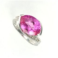 Large Created Pink Sapphire &amp; Diamond Ring in 10K White Gold