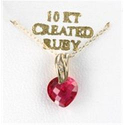 Ruby Heart 10K Gold Necklace