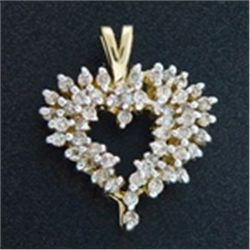 1 ctw. Diamond Heart Pendant in 10K Gold
