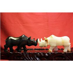 Original Hand Carved Marble  Rhinos  by G. Huerta