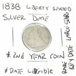 1838 LIBERTY SEATED *LARGE STARS* SILVER DIME *VERY RARE 2nd YEAR KEY DATE COIN GRADE DATE LEDGIBLE