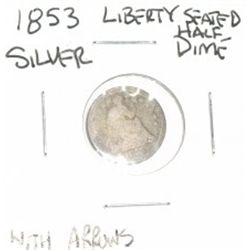 1853 LIBERTY SEATED *VARIETY 3 W/ARROWS* SILVER HALF DIME *RARE ARROWS AT DATE COIN GRADE DATE LEDGI