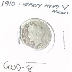 1910 LIBERTY HEAD  V  NICKEL *GOOD-8 GRADE*!!