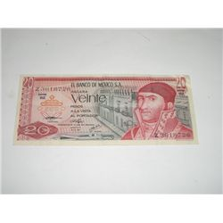 World Currency Vintage 1976 *MEXICO 20 VEINTE DOLLARS* NICE BILL!!