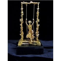 Moreau Limited Edition 24K Gold Layered Bronze Sculpture- Girl On A Swing