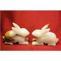 Original Hand Carved Marble  Rabbits  by G. Huerta