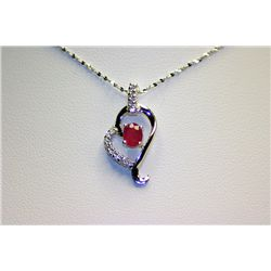 Lady's Fancy Ruby & Dimond Necklave with Pendant