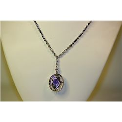 Lady's 18 kt White Gold Amethyst/Diamond Necklace