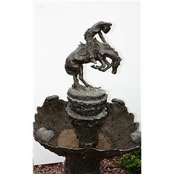 Signed Bronze Rattlesnake Fountain Remington