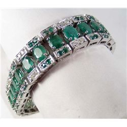 SILVER EMERALD AND DIAMOND BRACELET - SIZE 7