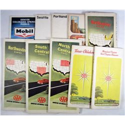 LOT OF 10 VINTAGE GAS & OIL ADVERTISING ROAD MAPS - MOBIL AND AAA