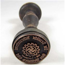 GERMAN NAZI WAX SEAL / RUBBER STAMP W/ WOOD HANDLE