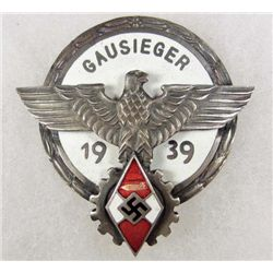 GERMAN NAZI GAUSIEGER 1939 ENAMELED BADGE