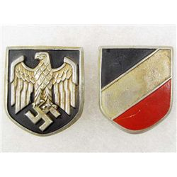 SET OF 2 GERMAN NAZI HELMET BADGES