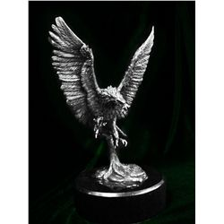Original Real Silver Eagle Sculpture by De Lier- Voyager
